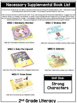 2nd Grade Literacy Unit One: Strong Characters