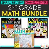 2nd Grade MATH BUNDLE | Spiral Review, Games & Quizzes | E