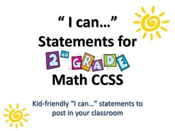 """2nd Grade MATH CCSS """"I Can"""" Statements {Editable PowerPoin"""