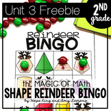 2nd Grade Magic of Math FREEBIE:  Shape Reindeer BINGO
