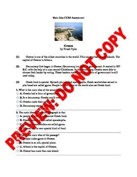 2nd Grade Main Idea CCSS Assessment