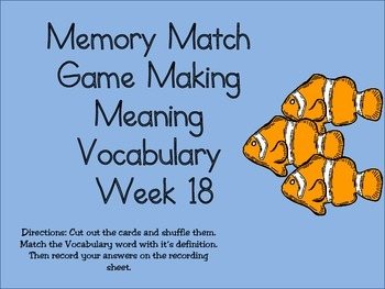 2nd Grade Making Meaning Vocabulary Week 18 Station Packet