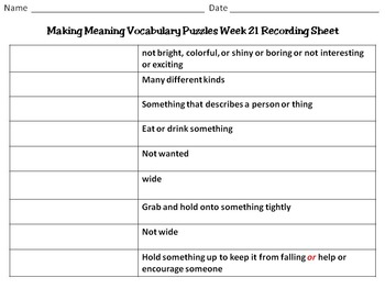 2nd Grade Making Meaning Vocabulary Week 21 Station Packet