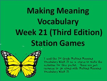 2nd Grade Making Meaning Vocabulary Week 21 (Third Edition) Resource Packet
