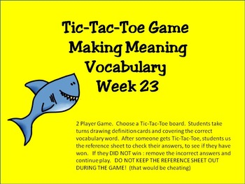 2nd Grade Making Meaning Vocabulary Week 23 Station Packet