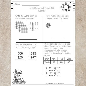 2nd Grade Math Homework 1 Year