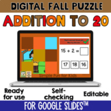 2nd Grade Math Addition to 20 Digital Fall 9-Piece Puzzle