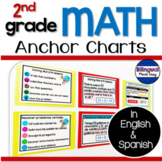 2nd Grade Math Anchor Chart Posters in English & Spanish