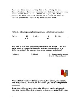 2nd Grade Math Assessment [(CUMLATIVE) answer key & RUBRIC included]