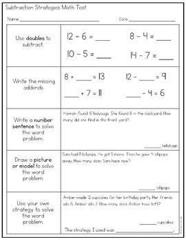 2nd Grade Math Assessment: Basic Addition and Subtraction Strategies