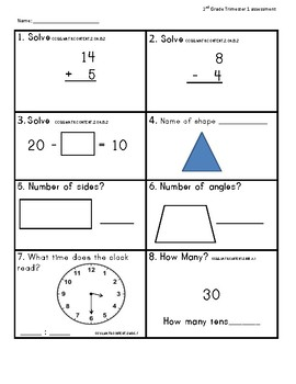 2nd Grade Math Assessment Common Core Standards based Trimester 1