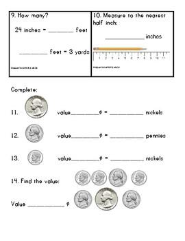 2nd Grade Math Assessment Common Core Standards based Trimester 2