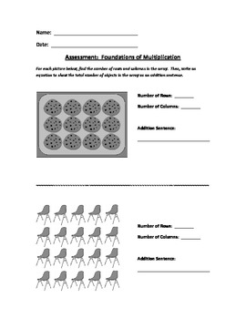 2nd Grade Math Assessment - Foundations of Multiplication - Common Core Aligned
