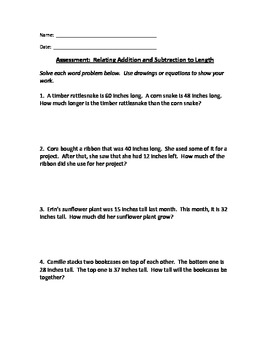 2nd Grade Math Assessment - Relate Addition/Subtraction to