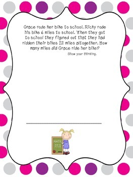 2nd Grade Math Back to School Story Problems Common Core 2.OA
