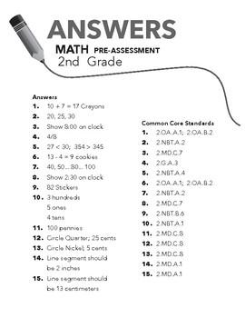 2nd Grade Math Beginning of the Year Pre-Assessment
