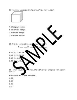 2nd Grade Math Benchmark based on NEWLY establed TEKS