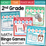 Grade 2 Math Bingo Games BUNDLE Telling Time Counting Money Addition Place Value