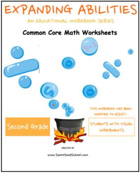 2nd Grade Math Bundle- Geometry,Algebra, M & D, Base 10 w/Visual Impairments