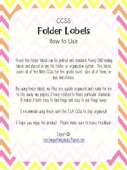 2nd Grade Math CCSS Folder Labels