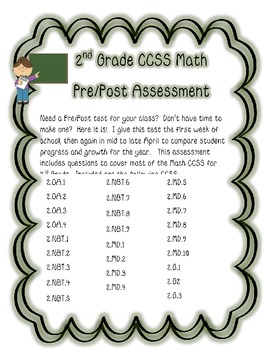 2nd Grade Math CCSS Pre/Post Assessment