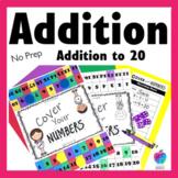 2nd Grade Math Center Game - Fluency to 20 - No Prep!