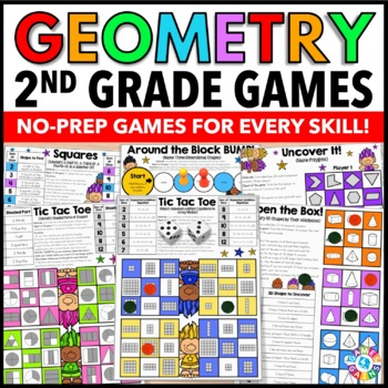 2nd Grade Math Centers: 2nd Grade Geometry Games {2.G.1, 2.G.2, 2.G.3}