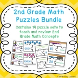 2nd Grade End of the Year Math Review Game Puzzles Bundle