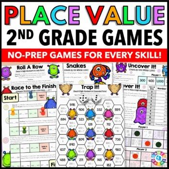 2nd Grade Math Centers: 2nd Grade Place Value Games {2.NBT.1, 2.NBT.2, 2.NBT.3.