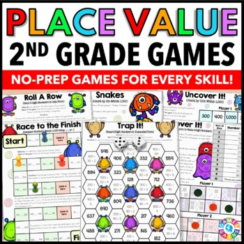 2nd Grade Place Value Games for 2.NBT.1, 2.NBT.2, 2.NBT.3