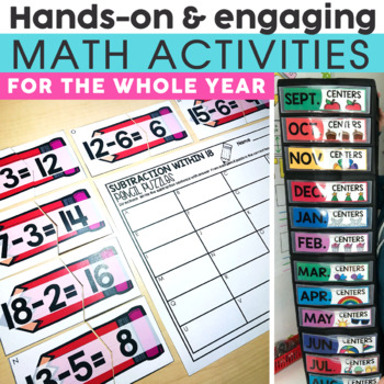 2nd Grade Math Centers Bundle | Includes Halloween Activities