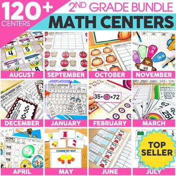 2nd Grade Math Centers Bundle | Math Games | Math Stations