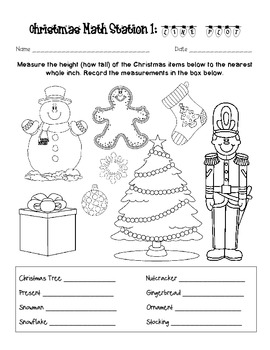 2nd Grade Math Christmas Stations Measurement CCGPS