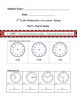 2nd Grade Math Common Core Assessment- Spring
