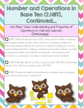 2nd Grade Math Common Core Checklist-Chevron & Owls Edition