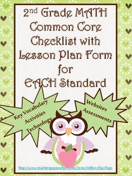 2nd Grade Math Common Core Checklist - Lesson Planning Form