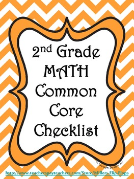 2nd Grade Math Common Core Checklist - Lesson Planning Form - Orange Chevron