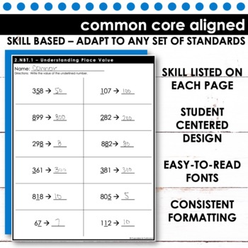 2nd Grade Math - Common Core Print & Go - Numbers & Operations in Base 10