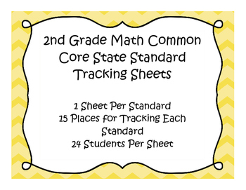 2nd Grade Math Common Core Standard Track Sheets