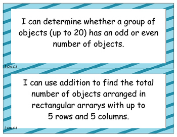 2nd Grade Math Common Core Standards - I Can Statements
