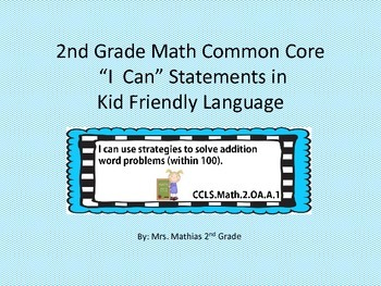 """2nd Grade Math Common Core Standards """"I Can"""" Statements in Kid Friendly Language"""