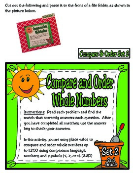 2nd Grade Math: Compare and Order File Folder Activities
