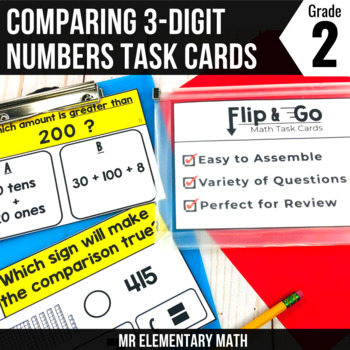 Comparing 3 Digit Numbers - 2nd Grade Math Flip and Go Cards
