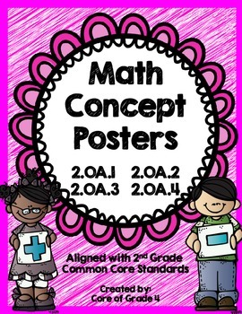 2nd Grade Math Concept Posters 2.OA.1 2.OA.2 2.OA.3 2.OA.4 Array Even Odd