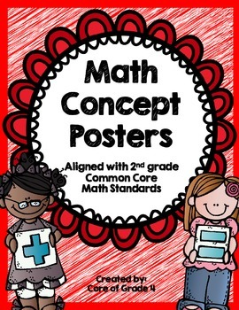 2nd Grade Math Concept Posters Shapes Time Money Addition Subtract Graphs