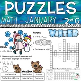 2nd Grade Math Crossword Puzzles - January