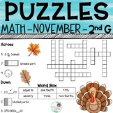 2nd Grade Math Crossword Puzzles - November