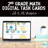 2nd Grade Math Digital Task Cards - 2D & 3D Shapes (Distan