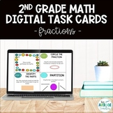 2nd Grade Math Digital Task Cards - Fractions (Distance Learning)