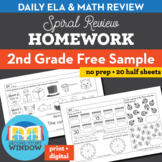 2nd Grade Math & ELA Homework Free 2 Week Sample